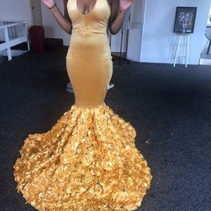 Yellow gold custom made prom dress.
